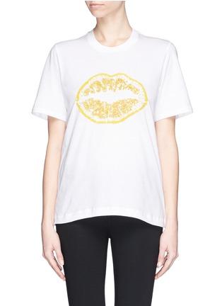 Main View - Click To Enlarge - MARKUS LUPFER - 'Lemon Smacker Lip' sequin Alex T-Shirt