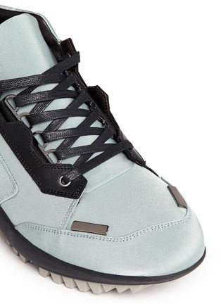 Detail View - Click To Enlarge - Lanvin - Leather trim satin twill sneakers