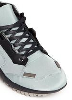 Leather trim satin twill sneakers