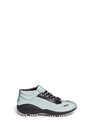 Main View - Click To Enlarge - Lanvin - Leather trim satin twill sneakers