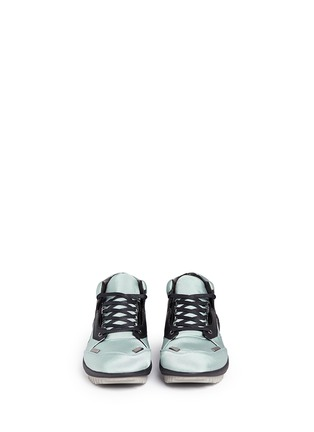 Figure View - Click To Enlarge - Lanvin - Leather trim satin twill sneakers