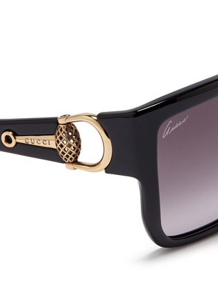 Detail View - Click To Enlarge - Gucci - Horsebit hinge chunky square sunglasses