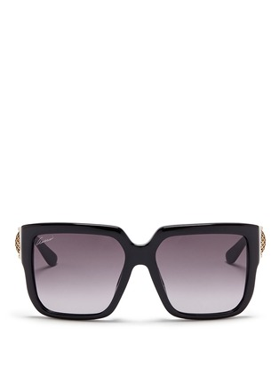 Main View - Click To Enlarge - Gucci - Horsebit hinge chunky square sunglasses