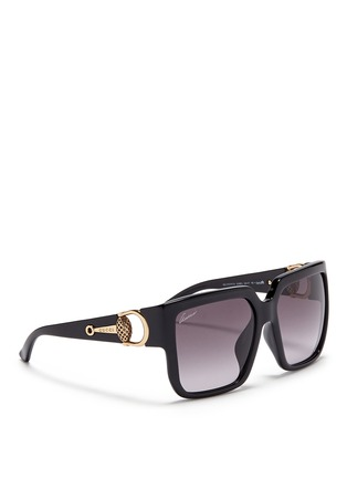 Figure View - Click To Enlarge - Gucci - Horsebit hinge chunky square sunglasses