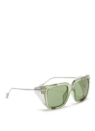 Figure View - Click To Enlarge - Gucci - Metal blinker acetate sunglasses