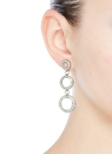 Kenneth Jay LaneGlass crystal circle drop clip earrings