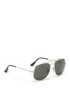 Ray-Ban'General' metal square aviator mirror sunglasses