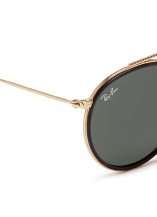 Detail View - Click To Enlarge - Ray-Ban - 'Round Double Bridge' metal sunglasses