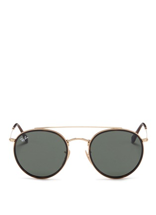 Main View - Click To Enlarge - Ray-Ban - 'Round Double Bridge' metal sunglasses