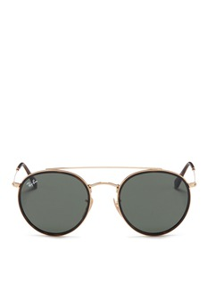Ray-Ban 'Round Double Bridge' metal sunglasses
