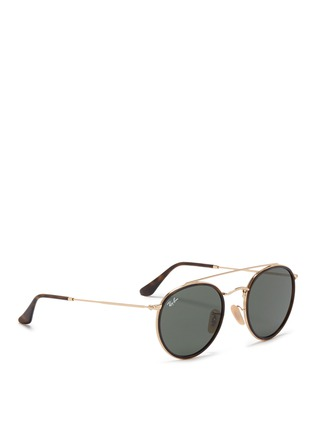 Figure View - Click To Enlarge - Ray-Ban - 'Round Double Bridge' metal sunglasses