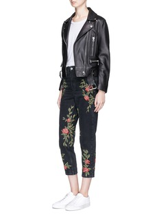 Topshop'Moto' rose embroidered Mom jeans