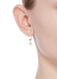 Delfina Delettrez 'ABC Micro Eye Piercing' freshwater pearl 18k yellow gold single earring – A
