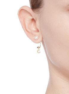 Delfina Delettrez'ABC Micro Eye Piercing' freshwater pearl 18k yellow gold single earring – C