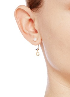Delfina Delettrez'ABC Micro Eye Piercing' freshwater pearl 18k yellow gold single earring – G