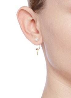 Delfina Delettrez 'ABC Micro Eye Piercing' freshwater pearl 18k yellow gold single earring – I