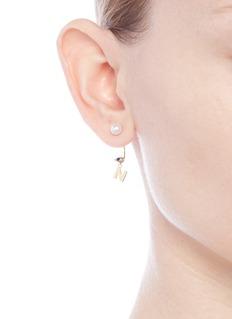 Delfina Delettrez 'ABC Micro Eye Piercing' freshwater pearl 18k yellow gold single earring – N