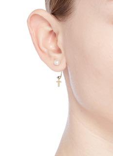 Delfina Delettrez 'ABC Micro Eye Piercing' freshwater pearl 18k yellow gold single earring – T