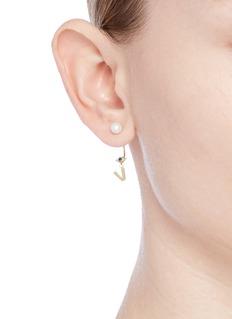 Delfina Delettrez 'ABC Micro Eye Piercing' freshwater pearl 18k yellow gold single earring – V