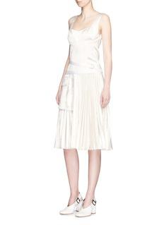 Victoria BeckhamPleated velvet skirt satin bustier dress