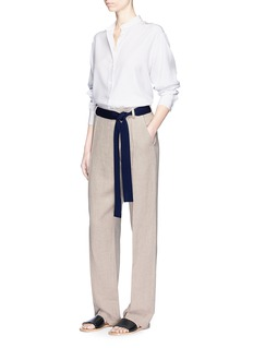 Victoria Beckham Foldover front relaxed linen pants