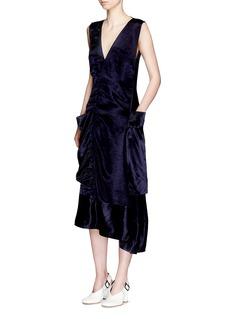 Victoria BeckhamDraped pocket sateen midi dress