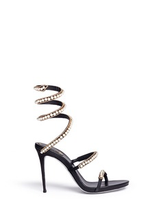 René Caovilla'Snake' strass faux pearl spring coil anklet sandals