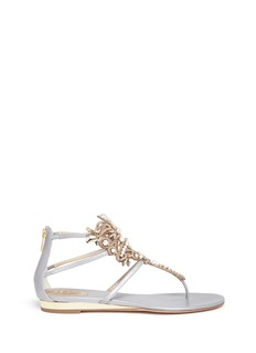 René Caovilla Floral strass embellished caged leather sandals