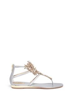 René CaovillaFloral strass embellished caged leather sandals