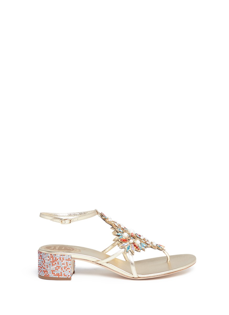 Floral strass embellished leather sandals by René Caovilla