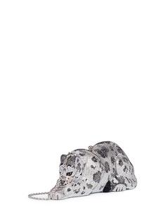 Judith Leiber'Wildcat Snow Leopard' crystal pavé minaudière