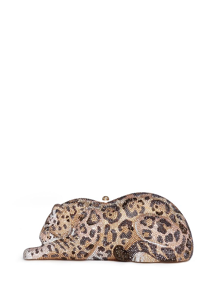 Wildcat Jaguar crystal pavé minaudière by Judith Leiber