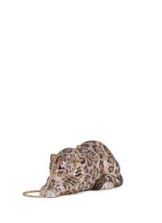 Judith LeiberWildcat Jaguar' crystal pavé minaudière