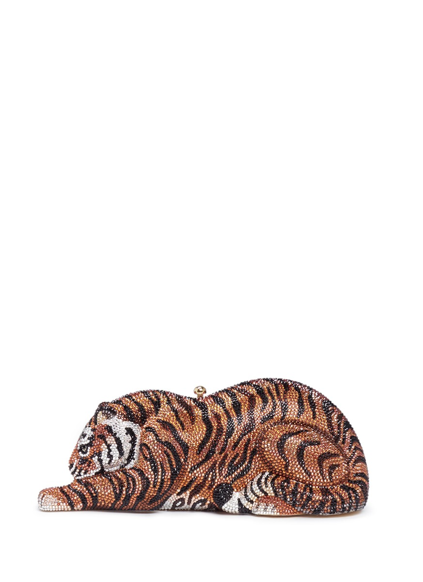Shere Khan Tiger crystal pavé minaudière by Judith Leiber