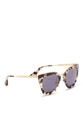 Figure View - Click To Enlarge - Prada - Metal bridge cat eye acetate sunglasses