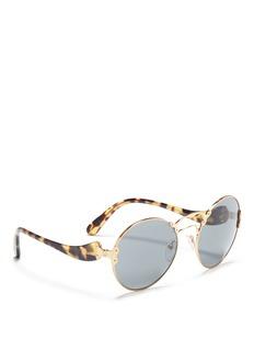 Prada'Prada Wanderer' tortoiseshell temple metal rivet scroll sunglasses