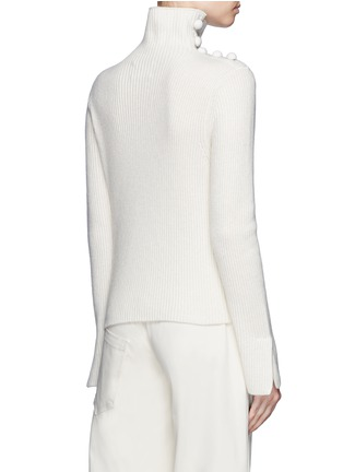 Back View - Click To Enlarge - CRUSH Collection - x Du Juan button shoulder turtleneck cashmere sweater