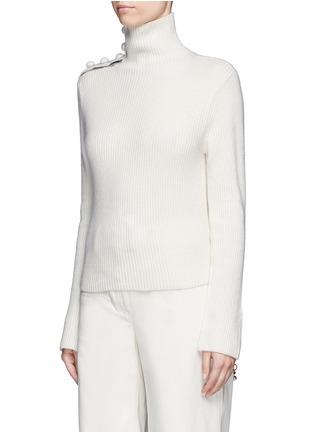 Front View - Click To Enlarge - CRUSH Collection - x Du Juan button shoulder turtleneck cashmere sweater