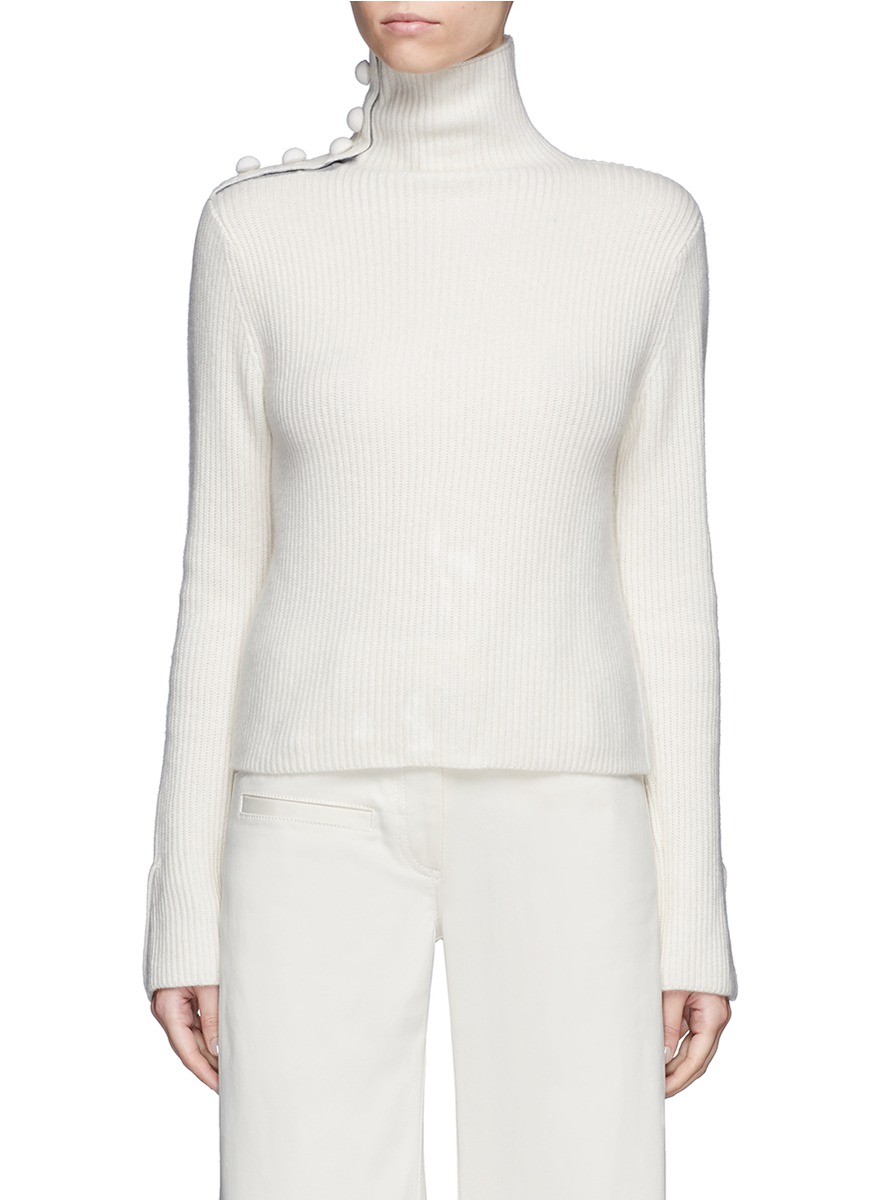 x Du Juan button shoulder turtleneck cashmere sweater by CRUSH Collection