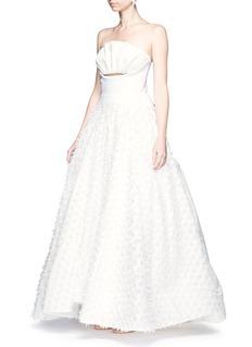 Maticevski'Willow' cutout ruffle bandeau fil coupé strapless gown