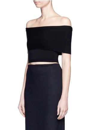 Front View - Click To Enlarge - Rosetta Getty - Off-shoulder cropped rib knit top