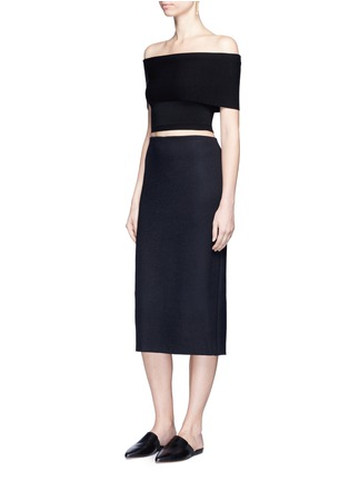 Figure View - Click To Enlarge - Rosetta Getty - Off-shoulder cropped rib knit top
