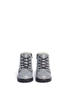 AKID 'Atticus' chevron stripe print leather toddler boots