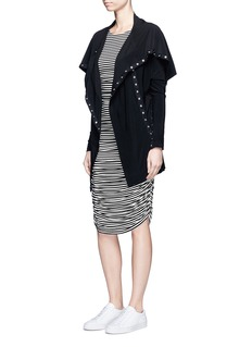 Norma Kamali'Teaser' stripe cutout midriff jersey dress