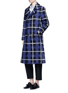 Xu ZhiThreaded tartan check double-breasted coat