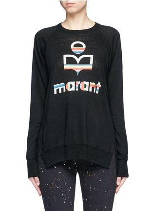 Main View - Click To Enlarge - Isabel Marant Étoile - 'Kaoa Marant' raglan sleeve linen T-shirt