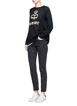Figure View - Click To Enlarge - Isabel Marant Étoile - 'Kaoa Marant' raglan sleeve linen T-shirt