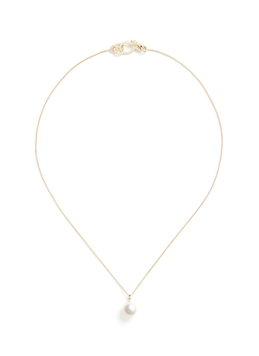 sophie bille brahe female perle simple akoya pearl 14k gold necklace