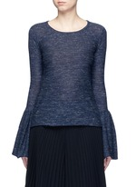 Bell cuff wool blend sweater