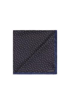 LanvinDot print silk pocket square